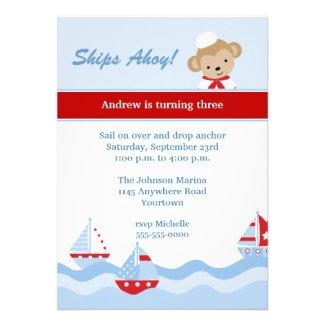 Sailboat and Monkey Birthday Invitation