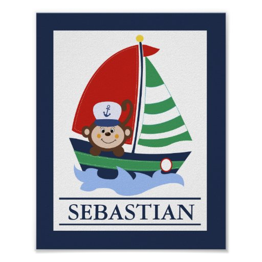 Sailboat and Monkey Custom Wall Art Print
