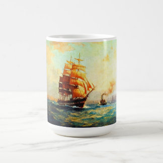 Sailboat and ocean steamers classic white coffee mug