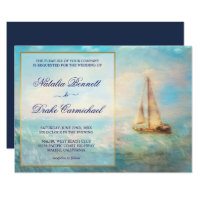 Sailboat and Sea | Nautical Navy and Gold Wedding Invitation