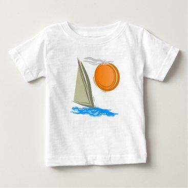 Beach Themed Sailboat and Sun Baby T-Shirt