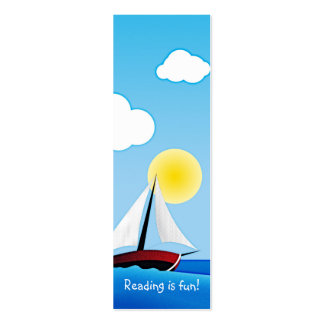 Sailboat and sun - bookmark Double-Sided mini business cards (Pack of 20)