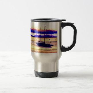 Sailboat at Anchor - cricketdiane Save the Sea mug Stainless Steel Travel Mug