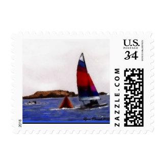 Sailboat at Bodega Bay California Postage