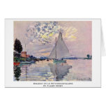 Sailboat At Le Petit-Gennevilliers By Claude Monet Greeting Cards