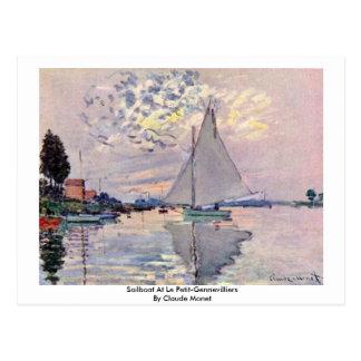 Sailboat At Le Petit-Gennevilliers By Claude Monet Postcard