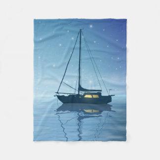 Sailboat at Night Small Fleece Blanket