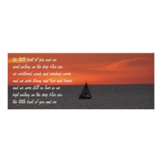 Sailboat At Sea At Sunset Poster