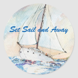 Sailboat at Sea Fine Art Watercolor Painting Classic Round Sticker