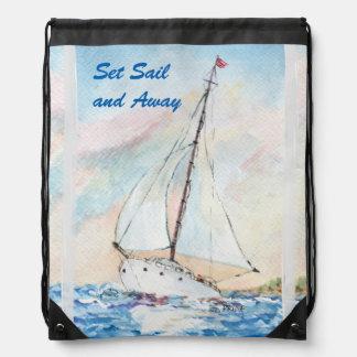 Sailboat at Sea Fine Art Watercolor Painting Drawstring Bag