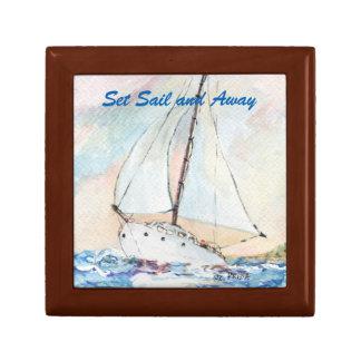 Sailboat at Sea Fine Art Watercolor Painting Trinket Box