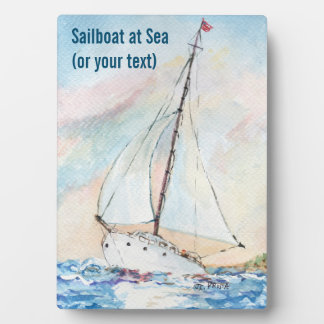 Sailboat at Sea Fine Art Watercolor Painting Photo Plaque