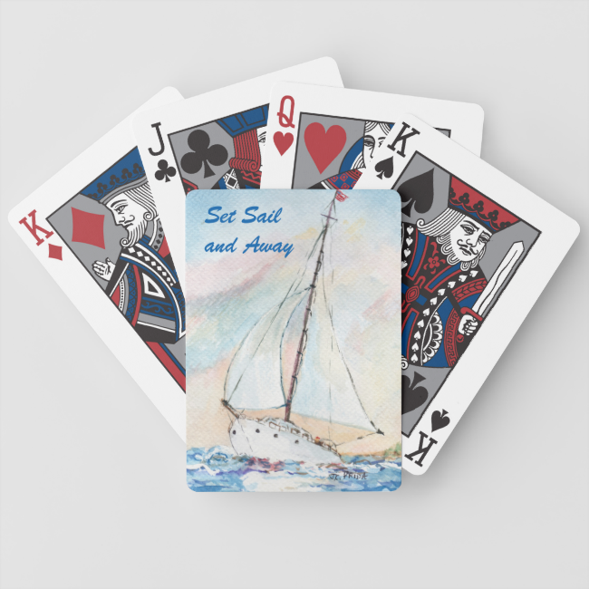 Sailboat at Sea Fine Art Watercolor Painting Bicycle Playing Cards