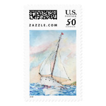 Sailboat at Sea Fine Art Watercolor Painting Postage