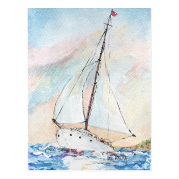 Sailboat at Sea Fine Art Watercolor Painting Post Cards