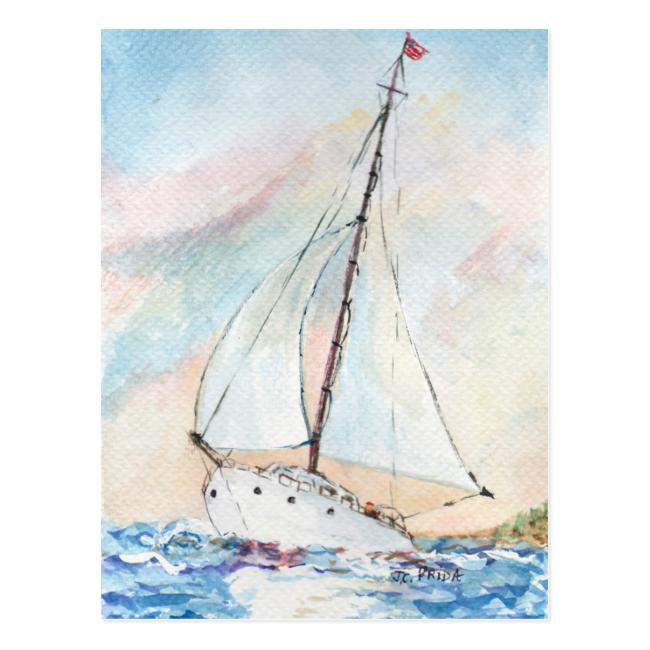 Sailboat at Sea Fine Art Watercolor Painting Postcard