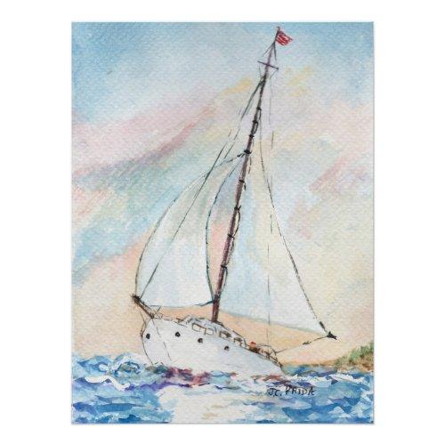 Sailboat at Sea Fine Art Watercolor Painting Poster