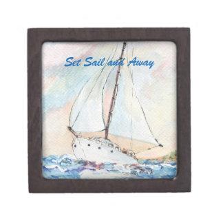 Sailboat at Sea Fine Art Watercolor Painting Premium Trinket Box