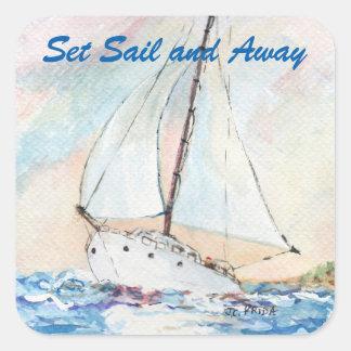 Sailboat at Sea Fine Art Watercolor Painting Square Sticker