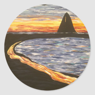 Sailboat at Sunset- Acrylic Painting Classic Round Sticker