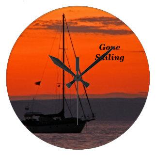 Sailboat at Sunset Clock, Orange Sky Large Clock