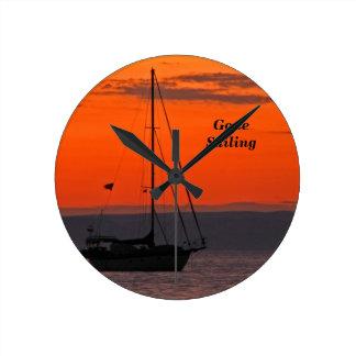 Sailboat at Sunset Clock, Small Round Round Clock