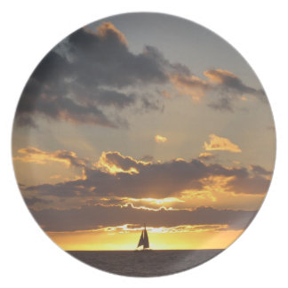 Sailboat at sunset dinner plate