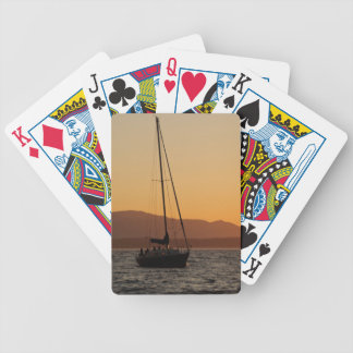 Sailboat At Sunset On The Puget Sound Bicycle Playing Cards