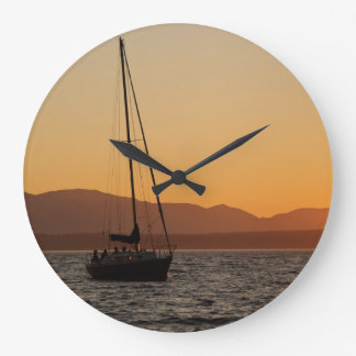 Sailboat At Sunset On The Puget Sound Large Clock