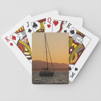 Sailboat At Sunset On The Puget Sound Playing Cards
