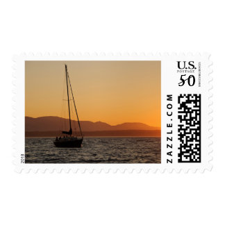 Sailboat At Sunset On The Puget Sound Postage