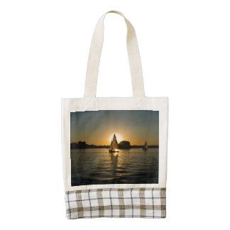 Sailboat at sunset zazzle HEART tote bag