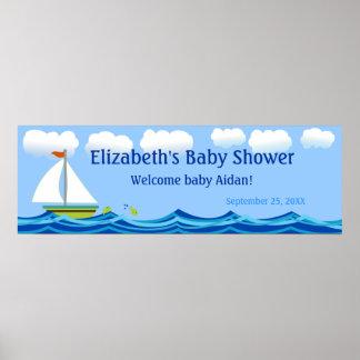 Sailboat Baby Shower Banner Poster