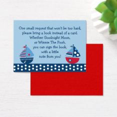Sailboat Baby Shower Book Request Cards at Zazzle