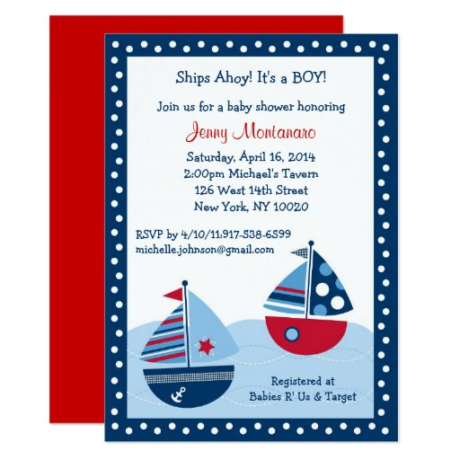 Sailboat Baby Shower Card