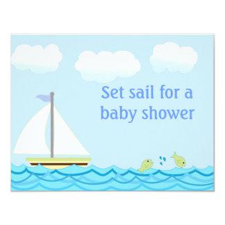 "Sailboat Baby Shower Invitation 4.25"" X 5.5"" Invitation Card"