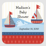 Sailboat Baby Shower Square Sticker!