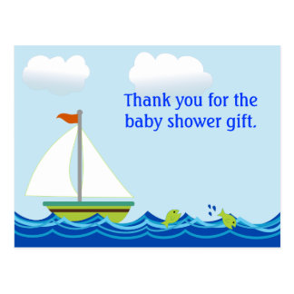 Sailboat Baby Shower Thank You Postcard