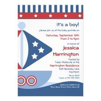 Sailboat Baby Sprinkle Invitations