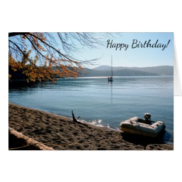 Beach Themed Sailboat Beach Happy Birthday Card