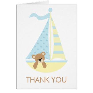 Sailboat Bear Baby Shower Notecards Card