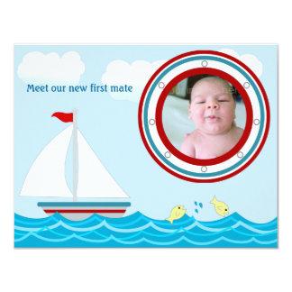 """Sailboat Birth Announcement 4.25"""" X 5.5"""" Invitation Card"""