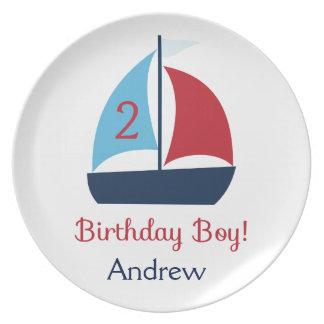 Sailboat Birthday Boy Plate
