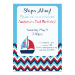 "Sailboat Birthday Invitation 5"" X 7"" Invitation Card"