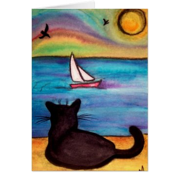 Beach Themed Sailboat Black Cat Card