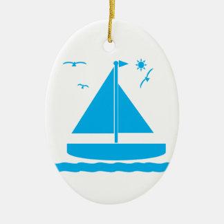 Sailboat Blue Ceramic Ornament
