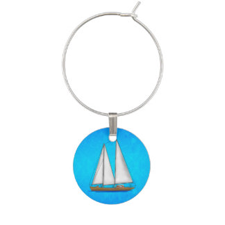 Sailboat Blue Waters Wine Glass Charm