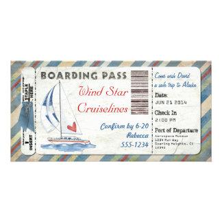 Sailboat Boarding Pass Photo Card