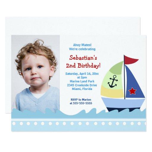 Sailboat Boys Photo Birthday Invitation Template