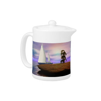 Sailboat by a Deserted Island Teapot